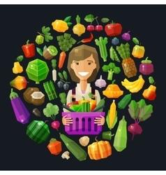 fresh food logo design template gardening vector image