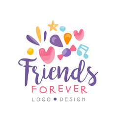 Friends forever logo design happy friendship day vector