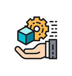hand with gear wheel and cube engineering tools vector image