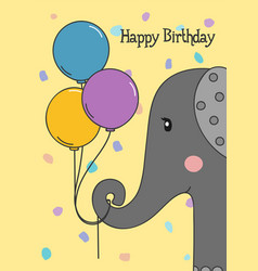 happy birthday greeting card with elephant vector image