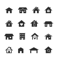 home icons black houses silhouettes smart home vector image