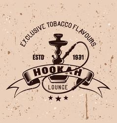 hookah lounge vintage emblem vector image