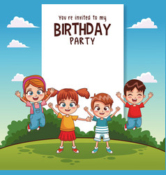 Kids birthday party card invitation vector
