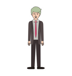 man full body with suit and tie and pants and vector image