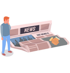 Man looks at paper publication with hot news vector