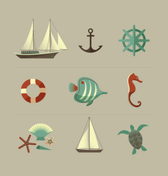 marine colored icons set vector image