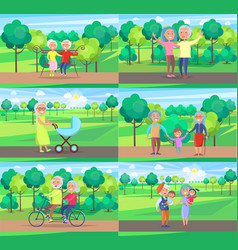 mature people together grandparents sit ride walk vector image