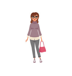 Middle aged woman in casual clothes stage of vector