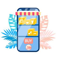 mobile online shopping flat vector image