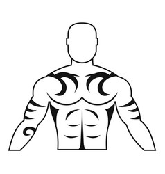 Muscular man with tattoo icon simple vector