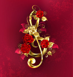 musical key with roses vector image