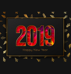new year 2019 background gold frame on tree vector image