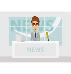 News anchorman in breaking and tv screen vector