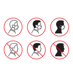 no entry without face mask icon vector image