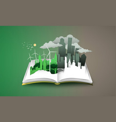 Open book 3d green dirty city before and after vector