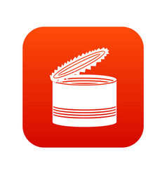 Open tin can icon digital red vector