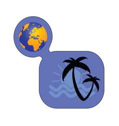 palm with globe color vector image vector image