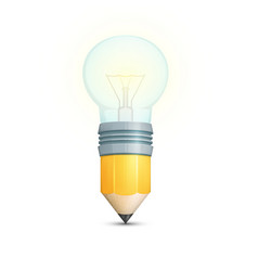 Pencil with light bulb vector