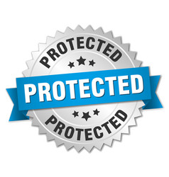 Protected round isolated silver badge vector