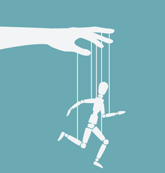 puppet marionette on ropes is running man vector image