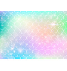 rainbow scales background with kawaii mermaid vector image