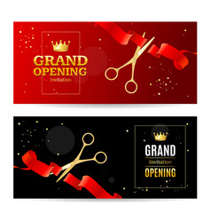 realistic detailed 3d grand opening concept banner vector image