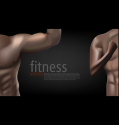 Realistic male female fitness club poster template vector