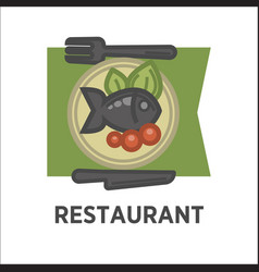 restaurant dish banner fish with tomatoes and vector image