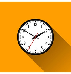 School Clock Flat Icon with Long Shadow vector image