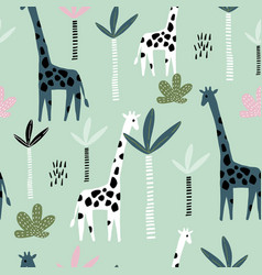 Seamless pattern with giraffe palm tree and vector