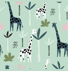 seamless pattern with giraffe palm tree vector image