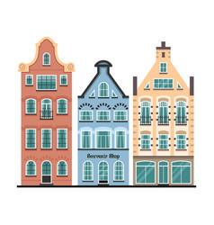 set 3 amsterdam old houses cartoon facades vector image