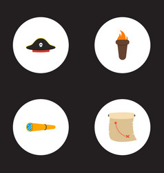 set of pirate icons flat style symbols with vector image