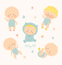 set with cute baby boys growth from newborn to vector image