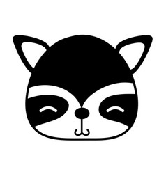 Silhouette shy raccoon head wild animal vector