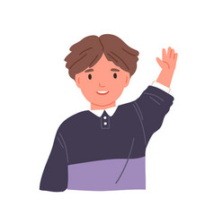 smiling child waving with hand and saying hi vector image