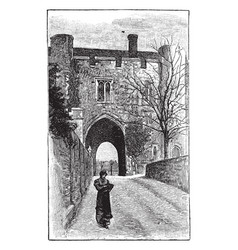 St albans monastery gate place vintage engraving vector