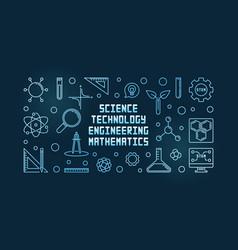 stem concept outline blue banner vector image