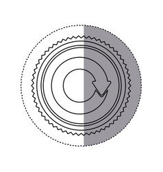 Sticker monochrome with circular reuse symbol vector