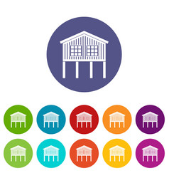 Stilt house icons set color vector