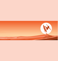 Surfing and waves scene banner vector