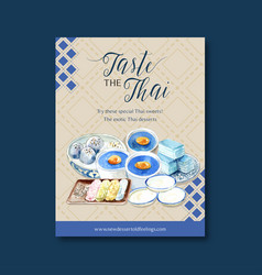 Thai sweet poster design with pudding layered vector
