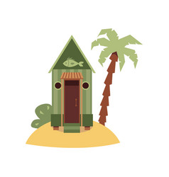 tiny green beach hut with fish sign on small sand vector image
