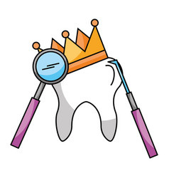tooth with crown and tools hygiene dental care vector image