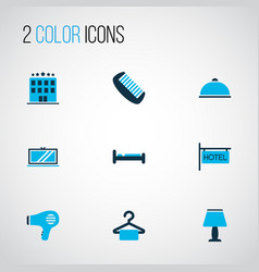 Travel icons colored set with lamp comb bed and vector
