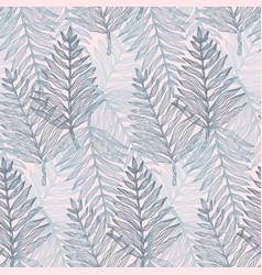 trendy tender colors tropical leaves pattern vector image