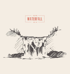 vintage of beautiful waterfall drawn vector image