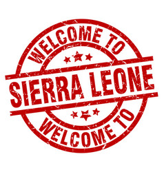 Welcome to sierra leone red stamp vector