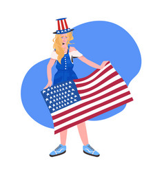 woman in festive hat holding usa flag 4th july vector image