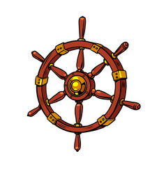 wooden steering wheel a sea ship vector image
